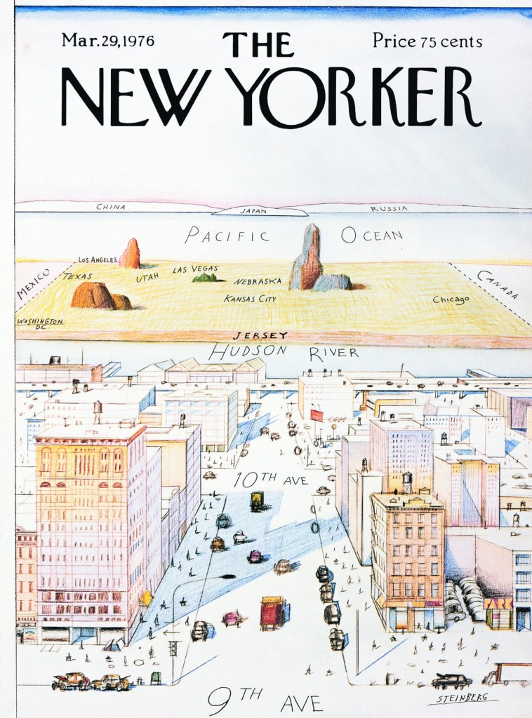 Saul Steinberg's March 29, 1976 »View of the World from Ninth Avenue« cover of The New Yorker |  © The Saul Steinberg Foundation