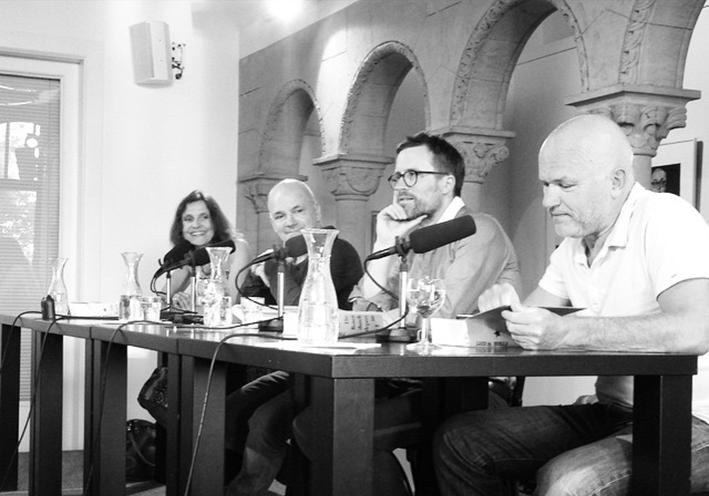 Claus Walter, Philipp Felsch, Frank Witzel und Maike Albath bei der Aufzeichnung der »LCB Studio«-Debatte zum Roman